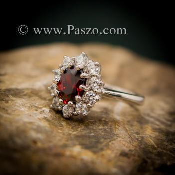 แหวนโกเมน แหวนพลอยสีแดงก่ำโกเมน ล้อมเพชร #2
