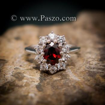 แหวนโกเมน แหวนพลอยสีแดงก่ำโกเมน ล้อมเพชร #3