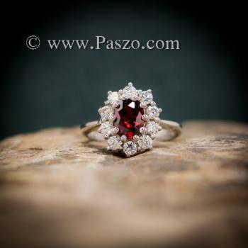 แหวนโกเมน แหวนพลอยสีแดงก่ำโกเมน ล้อมเพชร #4