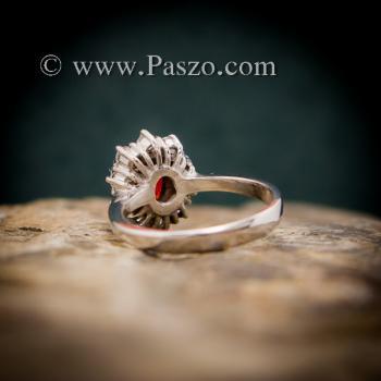 แหวนโกเมน แหวนพลอยสีแดงก่ำโกเมน ล้อมเพชร #5