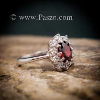 แหวนโกเมน แหวนพลอยสีแดงก่ำโกเมน ล้อมเพชร #6