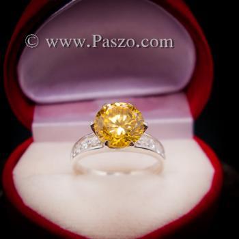 แหวนบุษราคัม แหวนชูพลอย แหวนเงินแท้ #2