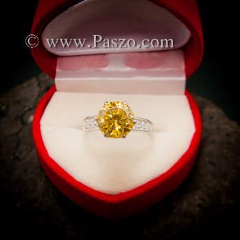 แหวนบุษราคัม แหวนชูพลอย แหวนเงินแท้ #3