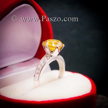 แหวนบุษราคัม แหวนชูพลอย แหวนเงินแท้ #5