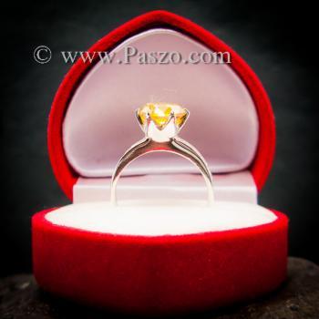 แหวนบุษราคัม แหวนชูพลอย แหวนเงินแท้ #6