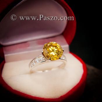 แหวนบุษราคัม แหวนชูพลอย แหวนเงินแท้ #7