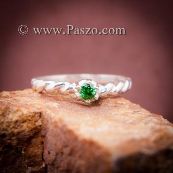 แหวนมรกต แหวนเงินแท้ฝังพลอยสีเขียว แหวนแบบเกลียว #3