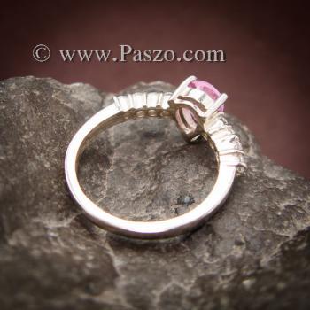 แหวนพลอยสีชมพู พลอยสีชมพูอ่อน รูปหยดน้ำ #4