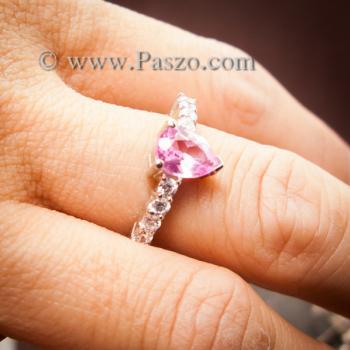 แหวนพลอยสีชมพู พลอยสีชมพูอ่อน รูปหยดน้ำ #6