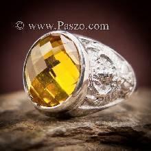 แหวนครุฑ แหวนบุษราคัม แหวนพญาครุฑ แหวนผู้ชาย พลอยสีเหลือง แหวนผู้ชายเงินแท้