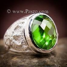 แหวนครุฑ แหวนมรกตผู้ชาย แหวนผู้ชายเงินแท้ พญาครุฑ ฝังพลอยสีเขียวมรกต แหวนผู้ชาย