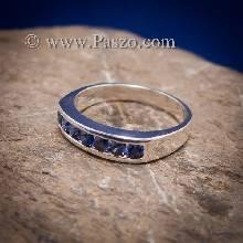 แหวนไพลิน แหวนแถว พลอยไพลิน เม็ดกลม แหวนพลอยสีน้ำเงิน 6เม็ด แหวนเงินแท้