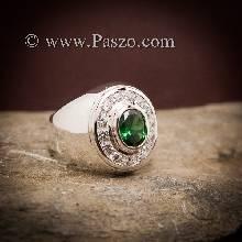 แหวนผู้ชายมรกต แหวนเงินผู้ชาย แหวนผู้ชายสีเขียว ล้อมเพชร แหวนสำหรับผู้ชายนิ้วเล็ก แหวนผู้ชาย