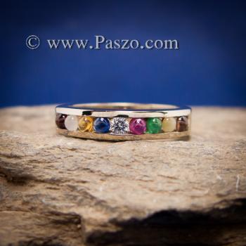แหวนนพเก้า แหวนแถว พลอยนพเก้าแท้ #2