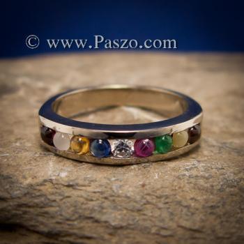 แหวนนพเก้า แหวนแถว พลอยนพเก้าแท้ #3