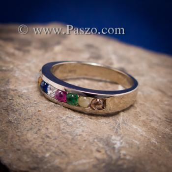 แหวนนพเก้า แหวนแถว พลอยนพเก้าแท้ #4