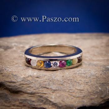 แหวนนพเก้า แหวนแถว พลอยนพเก้าแท้ #6