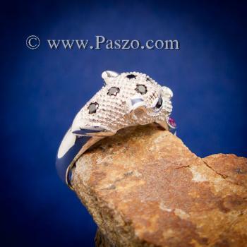 แหวนเสือดาว แหวนเสือดาวฝังนิล คาบห่วง #3
