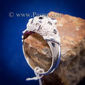 แหวนเสือดาว แหวนเสือดาวฝังนิล คาบห่วง #4