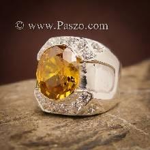 แหวนผู้ชายบุษราคัม แหวนเงินผู้ชาย พลอยสีเหลือง บุษราคัม ประดับเพชร แหวนผู้ชาย