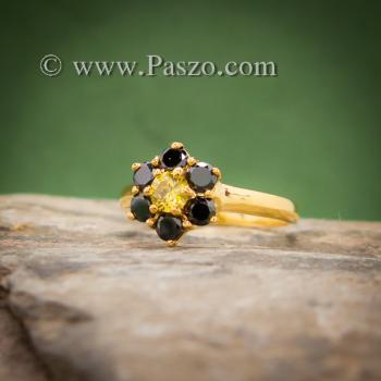 แหวนพลอยบุษราคัม แหวนทองแท้ ฝังพลอยสีเหลือง #2