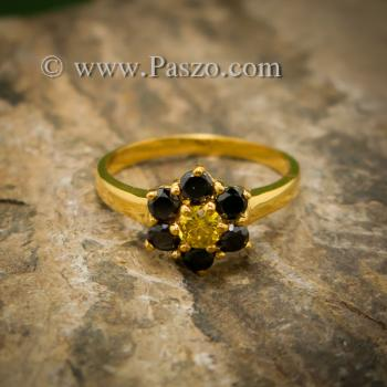 แหวนพลอยบุษราคัม แหวนทองแท้ ฝังพลอยสีเหลือง #5