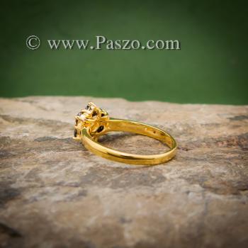 แหวนพลอยบุษราคัม แหวนทองแท้ ฝังพลอยสีเหลือง #3