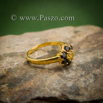 แหวนพลอยบุษราคัม แหวนทองแท้ ฝังพลอยสีเหลือง #4