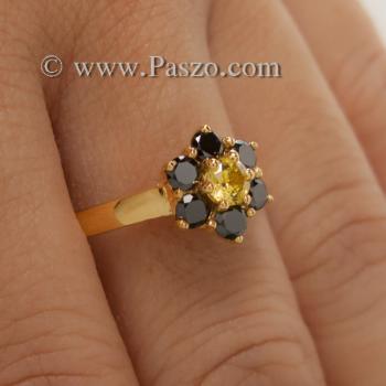 แหวนพลอยบุษราคัม แหวนทองแท้ ฝังพลอยสีเหลือง #6