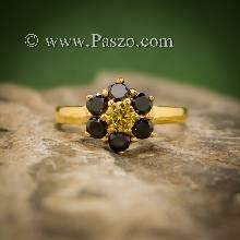 แหวนพลอยบุษราคัม แหวนทองแท้ ฝังพลอยสีเหลือง ฝังนิล แหวนดอกไม้