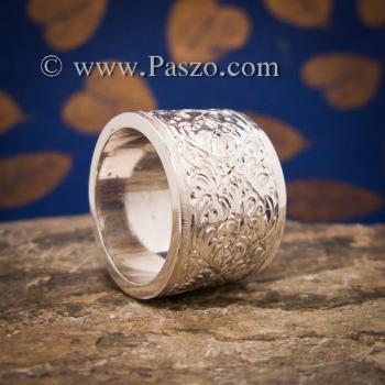 แหวนแกะลายรอบวง หน้ากว้าง15มิล แหวนเกลี้ยงหน้าเรียบ #5