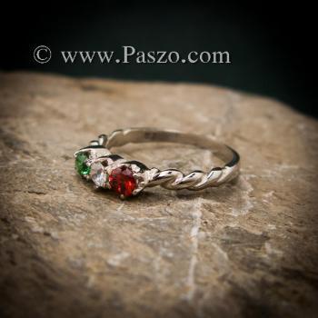 แหวนพลอยสามสี แหวนเงินแท้ ฝังพลอยสามสี #2