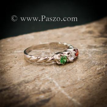 แหวนพลอยสามสี แหวนเงินแท้ ฝังพลอยสามสี #3
