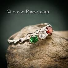 แหวนพลอยสามสี แหวนเงินแท้ ฝังพลอยสามสี