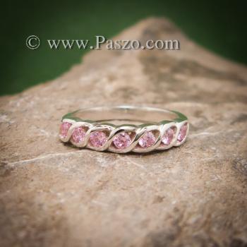 แหวนพลอยชมพู แหวนเงินแท้ ฝังพลอยสีชมพู #2