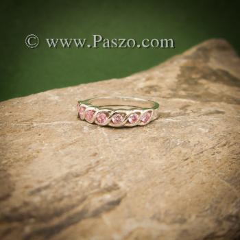 แหวนพลอยชมพู แหวนเงินแท้ ฝังพลอยสีชมพู #3