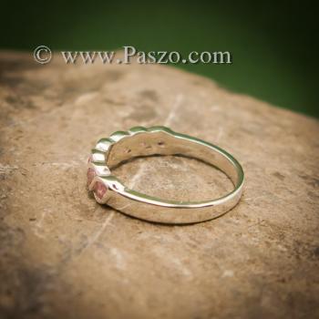 แหวนพลอยชมพู แหวนเงินแท้ ฝังพลอยสีชมพู #4