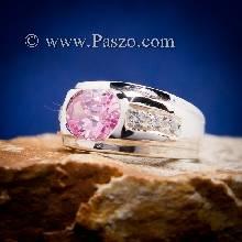 แหวนผู้ชายพลอยชมพู แหวนพลอยสีชมพู แหวนผู้ชาย แหวนผู้ชายเงินแท้
