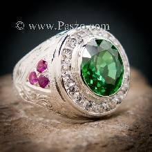 แหวนมรกตผู้ชาย แหวนผู้ชาย แหวนผู้ชายเงินแท้ แหวนแกะลายไทย ฝังพลอยสีแดง