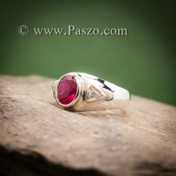 แหวนทับทิม แหวนพลอยสีแดง แหวนเงินแท้ #2
