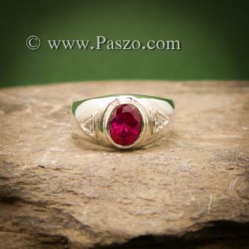 แหวนทับทิม แหวนพลอยสีแดง แหวนเงินแท้ #4