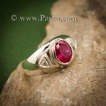 แหวนทับทิม แหวนพลอยสีแดง แหวนเงินแท้ ฝังพลอยทับทิม ฝังเพชร แหวนขนาดกลาง
