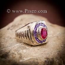 แหวนทับทิมผู้ชาย แหวนเงินผู้ชาย ฝังพลอยสีแดง พลอยสีม่วง แหวนทรงสี่เหลี่ยม แหวนผู้ชาย