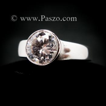 แหวนเพชร แหวนเงินแท้ แหวนเพชรเม็ดเดี่ยว #3