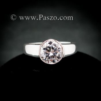 แหวนเพชร แหวนเงินแท้ แหวนเพชรเม็ดเดี่ยว #7