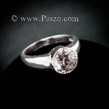 แหวนเพชร แหวนเงินแท้ แหวนเพชรเม็ดเดี่ยว ฝังหุ้ม แหวนเงินฝังเพชร