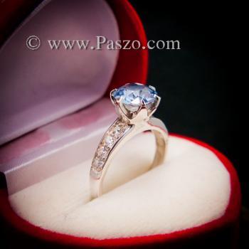 แหวนอะความารีน แหวนชูพลอย แหวนพลอยสีฟ้าอ่อน #3