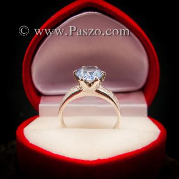 แหวนอะความารีน แหวนชูพลอย แหวนพลอยสีฟ้าอ่อน #4