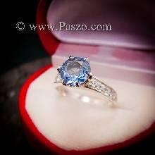 แหวนอะความารีน แหวนชูพลอย แหวนพลอยสีฟ้าอ่อน แหวนเงินแท้