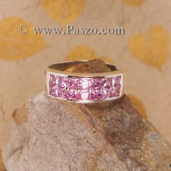 แหวนพลอยชมพู แหวนเงิน แหวนแถว2ชั้น #3